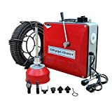 TABODD 900W Rohrreinigungsmaschine GQ-150, 400 U/min Elektrische Hochdruckreinigungsmaschine Rohre Pipeline Baggermaschine mit 6 Bohr- und Schneidköpfe für 20mm - 110mm Abflussrohre