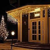 [480 LED] Lichterkette, 17M 8 Modi Lichterkette Außen Strom Weihnachtsbeleuchtung Wasserdicht Außen/Innen LED Lichterkette mit Memory-Funktion für Garten Balkon Weihnachtsbeleuchtung Außen, Warmweiß