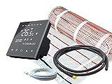 Elektrische Fußbodenheizung SunPro für Fliesen 160 W/m² - Komplett-Set mit Thermostat RT-50 touch/schwarz (1,5 m² - 0,5 x 3 m)