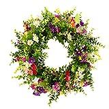 HooAMI 45cm Künstliche Türkranz Deko Kranz Dekorative Blumenkranz Wandkranz Für Frühling Sommer Alle Jahreszeiten Wanddekoration Hochzeitsfeier Festival Dekor