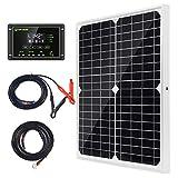 20W 12V Monokristallines Solarmodul Solarpanel Solarzelle Kit mit 10A Solarladegerät Laderegler Photovoltaikanlagen Solarbetriebene für Caravan Camper Boot