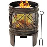 Amagabeli Feuerschale mit Funkenschutz 58 x 42 cm Feuerkorb mit Funkenschutz & Griffen Feuerschalen für den Garten Feuerstelle mit in Antik-Rost-Optik Garten Multifunktional Fire Pit