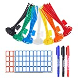 YIXISI 280 Stück Kabelbinder Tags, bunt Kabelbinder Etiketten, selbstsichernde Kabelbinder, Nylon Kabelbinder, Marker mit 384Stück Etiketten und 3 Stück Marker für Kabel-Management(40 Stück pro Farbe)