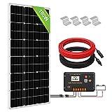 ECO-WORTHY 100 W monokristallines Solarmodulsystem-Set, 100 W Solarpanel mit 30 A Laderegler für netzunabhängige 12 V Energieladung, für Wohnmobil, Wohnwagen, Boot
