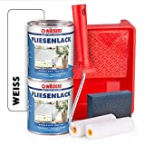 Wilckens Fliesenlack weiß glänzend - 2 Dosen Fliesenfarbe weiß 750ml im Set mit Malerbügel inkl. 2 Lackwalzen, Farbwanne & Schleifschwamm zum Fliesen streichen für ca. 16 qm