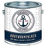 Badewannenlack GLÄNZEND Weiß RAL 9010 Badewannenbeschichtung Emaille Farbe // Hamburger Lack-Profi (1 L)