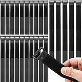 Honyear 25 Stück wiederverwendbare Klett-Kabelbinder, kabelbinder Klettverschluss, 3 verschiedene Längen, universell einsetzbar, schwarz