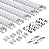 LED-Profil 6 × 1M, StarlandLed 6-Pack LED-Aluminium Profil U-Form mit Abdeckung, Endkappen und Montageclips für LED-Streifen-Lichter …