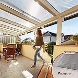 Acrylshop24 Terrassendach Terrassenüberdachung Carport Komplettset Polycarbonat 16mm X-Struktur Stegplatten farblos 16mm Stegplatten Tiefe:3000mm Breite:6120mm - Mehrere Maße verfügbar