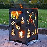 G Feuertonne Feuerfaß Feuertonne mit motiv Feuerschale Feuerkorb Outdoor Feuerstellen Grill Feuerofen mit Motiv für Heizung/BBQ Camping Lagerfeuer Einfach zu installieren und zu verwenden