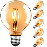 Led Leuchtmittel E27 Warmweiß, G80 Edison Vintage Glühbirne E27 4W led birne Dekorative Antike LED Glühlampe Ideal für Nostalgie und Retro Beleuchtung im Haus Café Bar - 6 Stück [Energieklasse A+++]