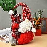 AmazingDays Weihnachten Weinflasche Geschenktaschen Weihnachtsdeko Weinflaschen Abdeckung Weinflaschen Taschen Tischdeko Weinbeutel Stoff Weintüten für Xmas Party Flaschen Deko Geschenk 1 Stücke