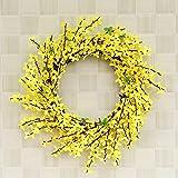 WYDM Türkranz Künstlicher Blumenkranz Gelber Forsythie-Kranz Künstlicher Winter-Jasmin-Blumen-Kranz Seidenblumengirlande für Haustür-Wand-Dekor (30) (45,0 Zentimeter)