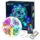 Dreamcolor LED Streifen, LED Strip Bluetooth, AWOW 5050 IP65 Wasserdicht LED Streifen Sync mit Musik, Steuerbar mit APP, LED Stripes für Party, Raum, TV, Weihnachten Deko, 40K Fernbedienung (5M)