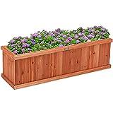 GOPLUS Blumenkasten aus imprägniertem Tannenholz, rechteckiger Pflanzkasten für Blumen & Pflanzen, Blumenkübel für Garten, Balkon, Terrasse, 102 × 31 × 30 cm, holzfarben