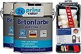 prinzcolor Premium Betonfarbe Sockelfarbe Bodenfarbe Bodenbeschichtung Set Kieselgrau 5l - Anstreichset