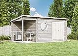 CARLSSON Alpholz Gartenhaus Maria-Rondo aus Massiv-Holz   Gerätehaus mit 44 mm Wandstärke   Garten Holzhaus inklusive Montagematerial   Geräteschuppen Größe: 550 x 250 cm   Pultdach