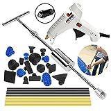 Super PDR PDR Ausbeul Reparatur Gleithammers Kit Werkzeuge Dellen-Reparaturset zur DIY-Reparatur von Fahrzeugdellen ohne Lackieren, T-Zugwerkzeug und Aufsätze, 25-teiliges Set (T Bar Set)