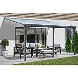 Home Deluxe - Terrassenüberdachung anthrazit - 557 x 303 cm | Wintergartendach Verandaüberdachung Vordach