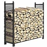 WTOKL Kaminholzständer, Metall-Outdoor-Indoor-Kamin-Log-Halter, einfach zu montieren, für Terrassenholz-Lagerung Stahlrohr-Holz-Stapelregal-Werkzeug