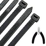 Kabelbinder 100 Stück 300 mm x 7,6 mm, UV-Beständig ultra starke Kabelbinder mit 50 kg Zugfestigkeit, Schwarz, Hitzebeständig, Langlebig