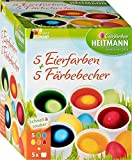 Heitmann Eierfarben 5 Eierfarben + 5 Färbebecher - 5 flüssige Kaltfarben mit Stickerbogen - azofrei - Ostereier bemalen, Ostereierfarbe