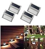 NORDSD 4 Stk 3 LED Solarleuchte Garten Edelstahl Solar Wandleuchte Solarlampe mit Auto On/Off, Wetterfest für Garten Außen Terrasse Hof