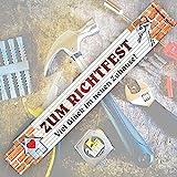 2 Meter Zollstock mit Aufschrift | Spruch - Zum Richtfest - 2m Gliedermaßstab Geschenk für Männer Handwerker Heimwerker zum Geburtstag Holz