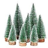 FLOFIA 8 STK Weihnachtsbaum Mini Künstlich 3 Größe Miniatur Tannenbaum Grün Mini Christbaum Tree Klein Weihnachtsdeko Figuren 10/15/20CM