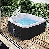 Arebos Whirlpool   aufblasbar   In- & Outdoor   4 Personen   100 Massagedüsen   mit Heizung   600 Liter   Inkl. Abdeckung   Bubble Spa & Wellness Massage