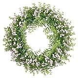 SHACOS Gypsophila Kranz Pink Künstliche Blumenkranz Deko Frühling Blumen Türkranz Sommer Wandkranz Deko für Hochzeit, Garten, Fenster