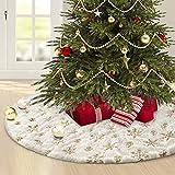 Weihnachtsbaumdecke 120 cm,Christbaumdecke Weiß für Schnee Christbaum Weihnachtsbaum Deko,Tannenbaum decke mit Schneeflocke Pailletten Teppich Rund für Frohe Weihnachten Party Decke Rock Dekorationen.