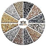 Home Profis HPST-5000 Steinteppich-Set (Außen) – fester Stein-Boden für Außenräume, Naturstein-Teppich Grigio Carnico, Marmor-Kies für 2 bis 2,4 m²