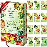 Züchte deine eigenen Samen-Set - 12 Gemüsesorten, 5100 wachstumsfähige Erbstücksamen - Gemüseanbau-Set für Frauen, Kinder, Anfänger, Geschenke für Gärtner - Möhre, Zwiebel, Tomatenamen