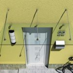 Vordach aus starkem Verbundsicherheitsglas mit hochwertigen V2A Edelstahlbeschlägen