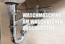 Bild von Waschmaschine am Waschbecken anschließen